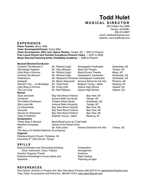 Musician Resume Examples All Resumes Todd Hulet
