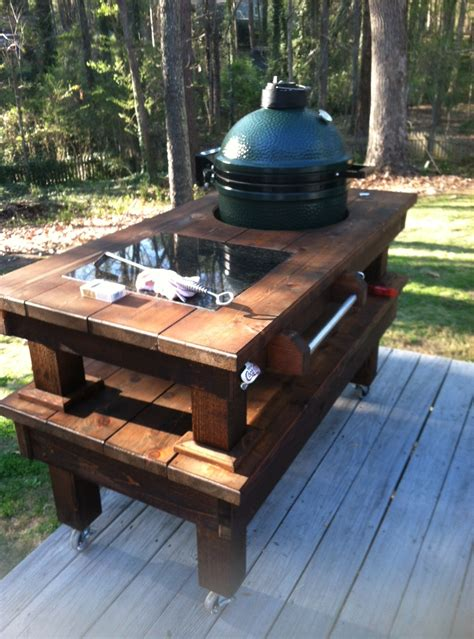 custom big green egg table walnut cedar custom