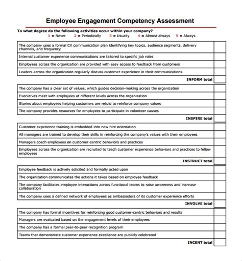 General Evaluation Template Employee Competency Assessment Template