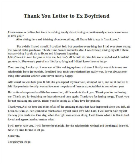 thank you letter to ex 8 boyfriend thank you letter sles