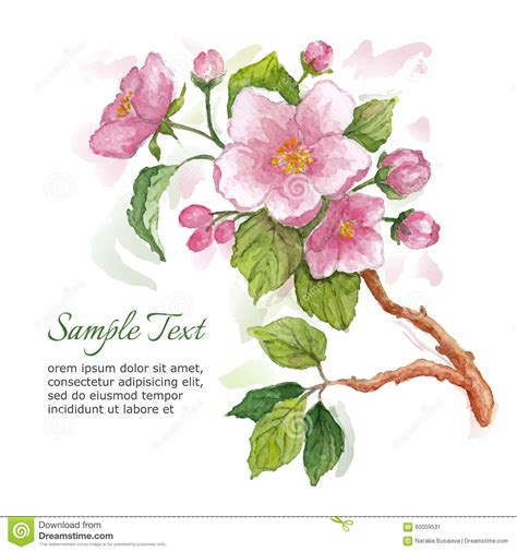 apple greeting card templates template for greeting card with watercolor apple blossoms