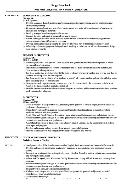 facilitator resume sles velvet