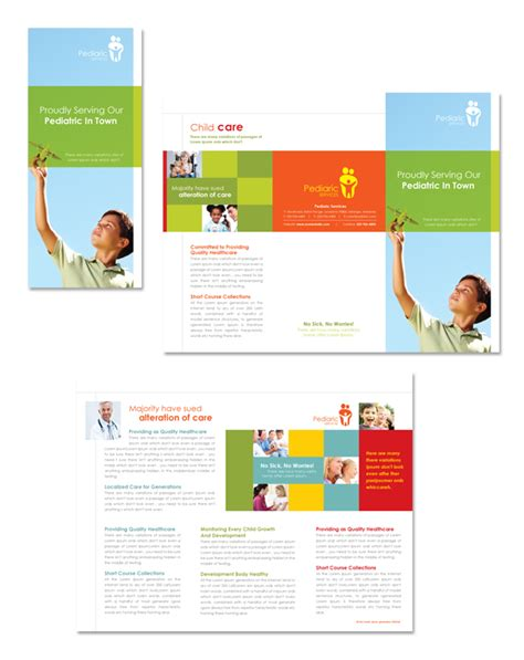 tri fold brochure template illustrator free pediatrician child care tri fold brochure template 리플렛