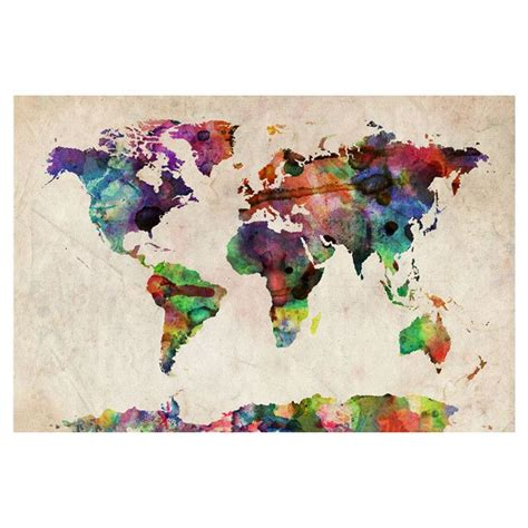 World Map Canvas Print by Urban Watercolor World Map Canvas Print Things I Love