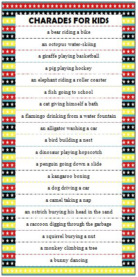 what am i playing charades literacy game cards and kids charades ideas free printable kids charades