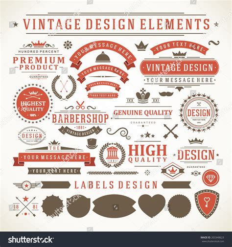 design elements style vintage vector design elements retro style stock vector