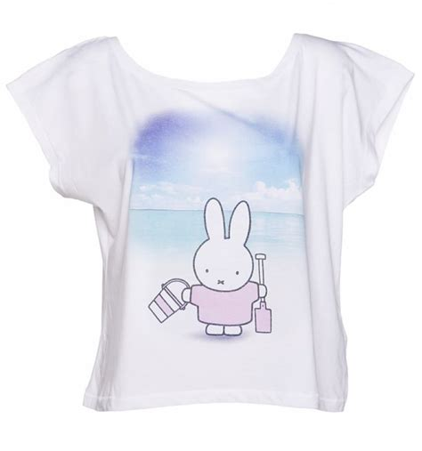 women s miffy at the beach oversized cropped scoop t shirt