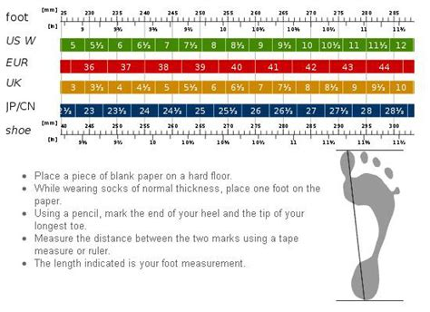 shoe size chart brannock foot measurement instructions