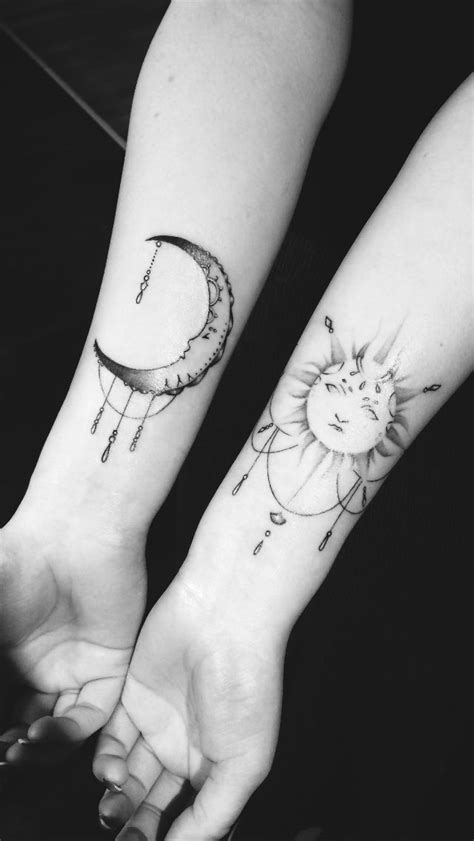 sun and moon best friend tattoos sun and moon mine moon and