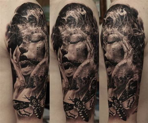 detailed tattoos detailed sleeve by dmitriy samohin design of