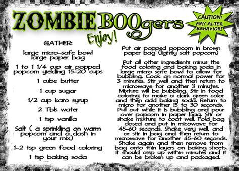free printable halloween recipes serving up some zombie boogers inkhappi