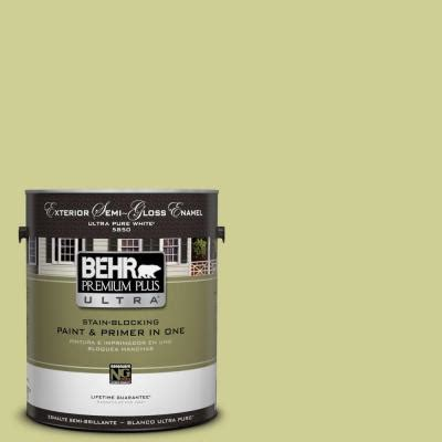 behr premium plus ultra 1 gal m340 4 wasabi semi gloss enamel exterior paint 585401 the home