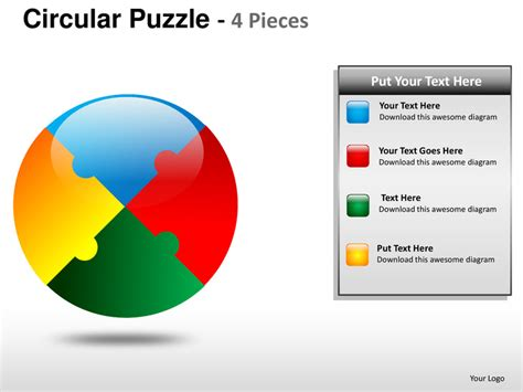 4 puzzle template circular puzzle 4 pieces powerpoint presentation templates