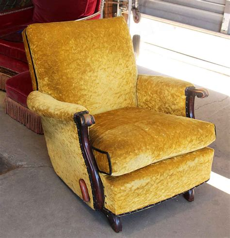 old recliner antique recliner with crushed yellow velvet olde good things