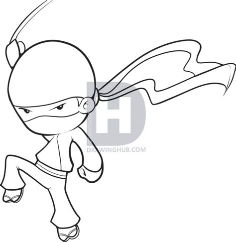 simple ninja coloring pages how to draw an easy ninja step by step figures people
