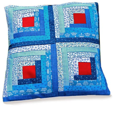 Patchwork Cushion Kits - blue log cabin patchwork cushion kit