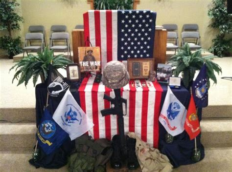 church communion table decorated for memorial day