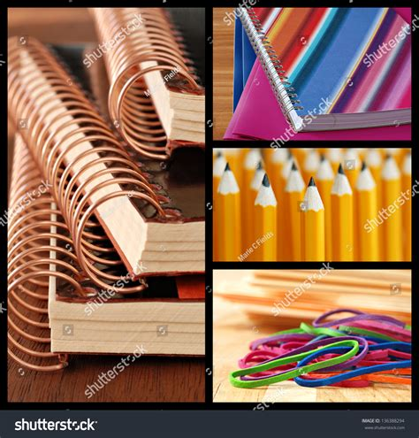 colorful pencils and office supplies collage stock photo colorful collage of school or office supplies includes