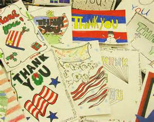 students make cards for soldiers serving overseas garden spot high school