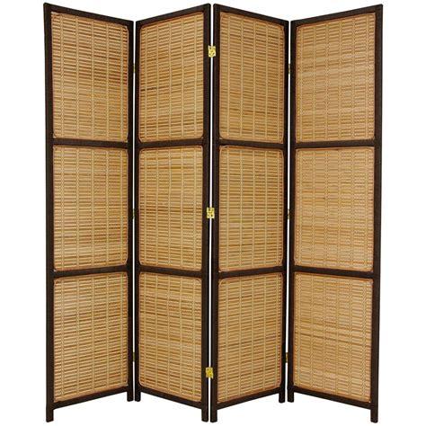 4 panel room divider 6 ft brown 4 panel room divider fbwovscr4pdbrn the home depot