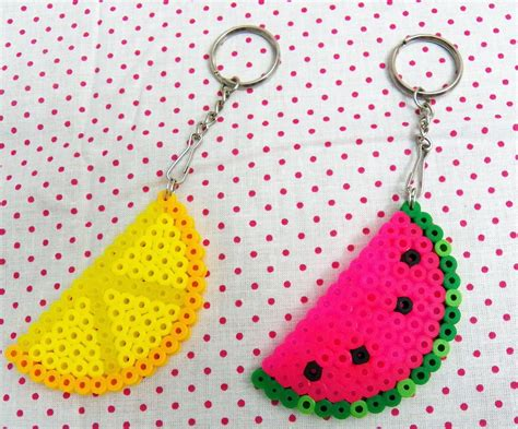 perler watermelon perler bead keychains watermelon pink or lemon yellow