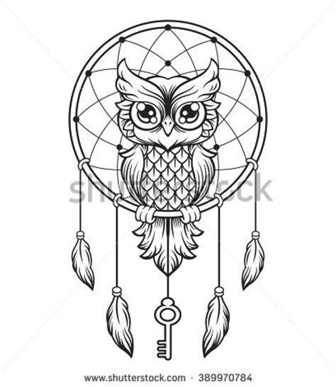 dreamcatcher black white owl vector line stock vector