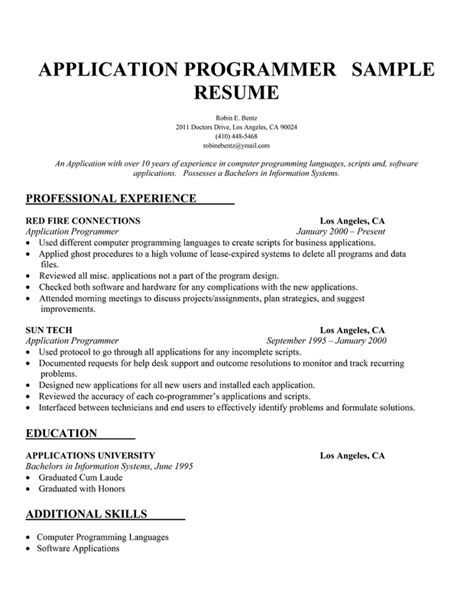 computer programmer resume template pictures