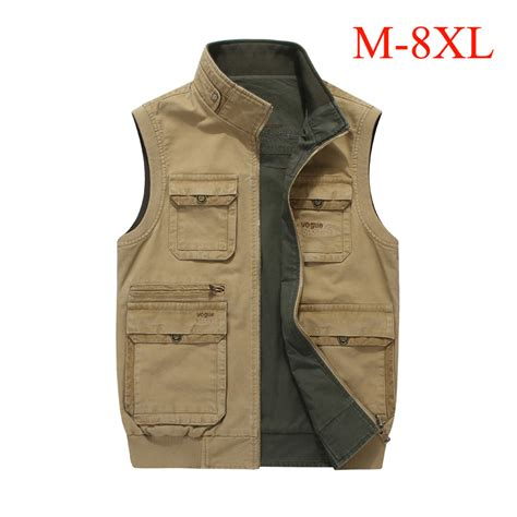 Outer Vest Xl Overall Cardi m 8xl big size vest multi pockets both side wear waistcoat stand collar cotton cargo