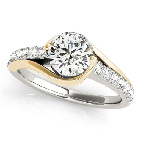 Two Tone Gold Engagement Rings - solitaire engagement ring accented 14k two tone