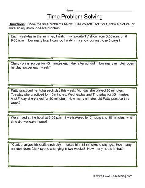 Problem Solving Worksheets by Time Problem Solving Worksheet 4