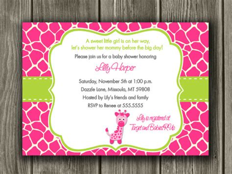 free printable giraffe stationery pink and green giraffe baby shower invitation printable
