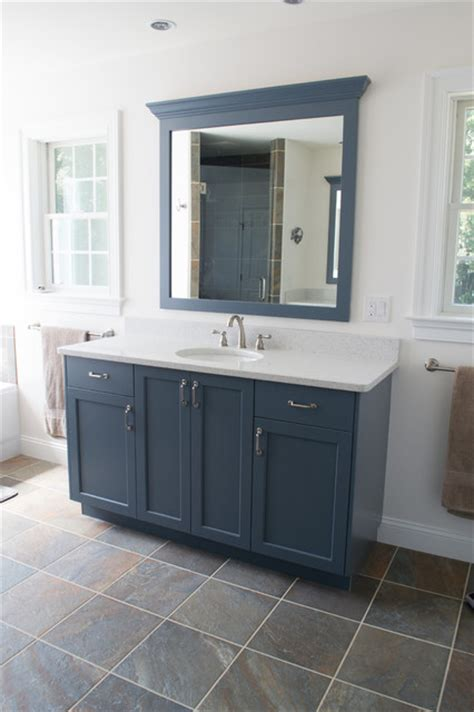 blue bathroom cabinet slate blue bathroom transitional bathroom