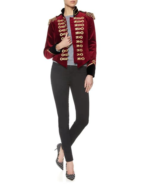 Iphone Cannot Take Photo pinky laing red velvet military jacket in red lyst