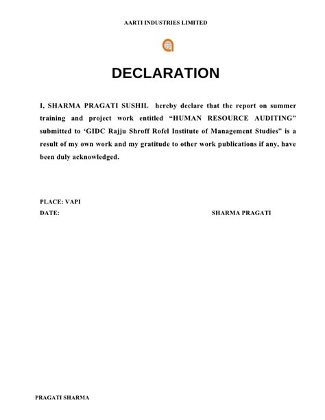 Loan Declaration Letter Format Pragati Sharma