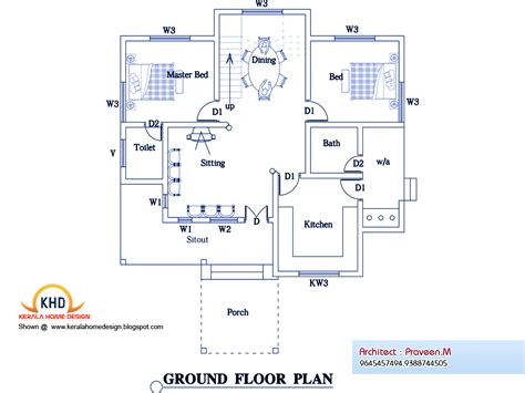 kerala home design ground floor plan 3 bedroom home plan and elevation kerala home design and