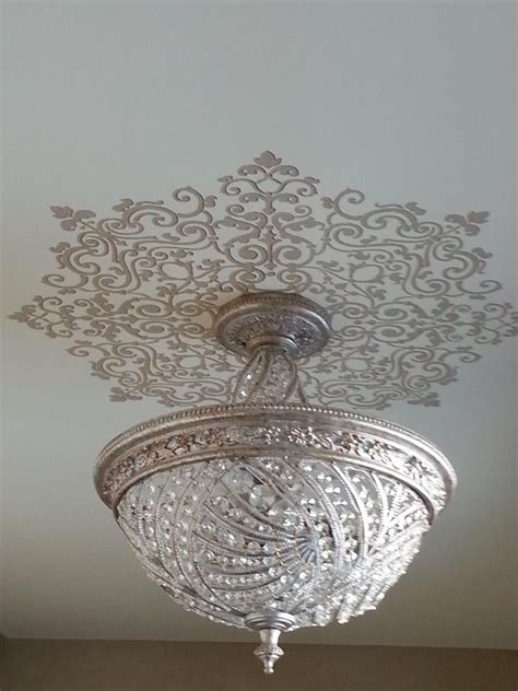 Medallions For Light Fixtures Grand Ceiling Medallion Stencils Around Light Fixture Painted By Finish By