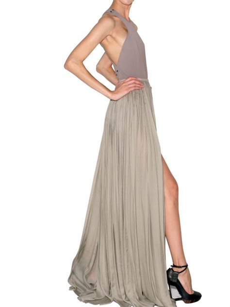 lanvin pleated silk maxi skirt in gray grey lyst