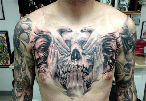 cool idea of skull tattoo on chest for men tattooimages biz
