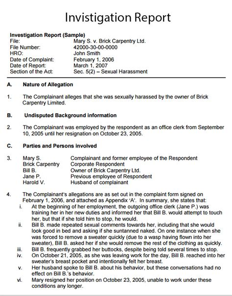 hr investigation report template workplace investigation report template 7 free pdf