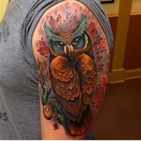 black owl tattoo east atlanta owl done by eddie stacey ink and dagger tattoo in