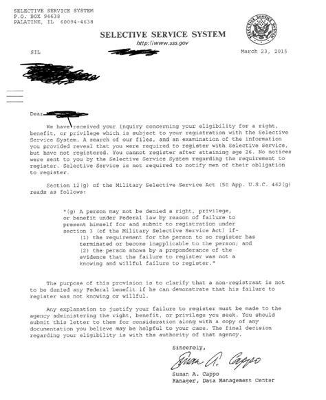 selective service status information letter best