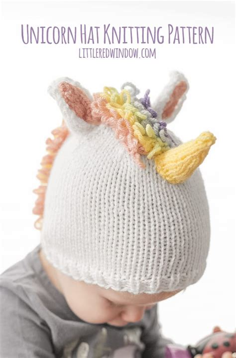 Knitting Pattern For Unicorn Hat | magical unicorn hat knitting pattern little red window
