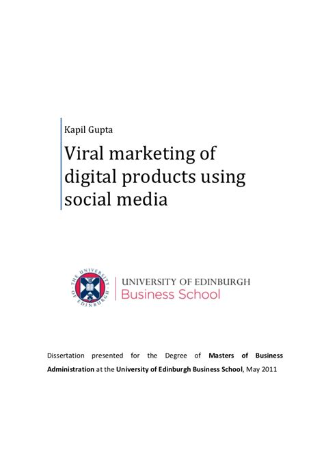 In Media For Mba Marketing by Viral Marketing Of Digital Products Using Social Media