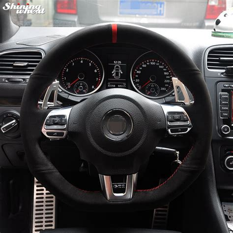 volante golf 6 gtd marker black suede car steering wheel cover for