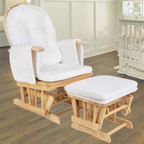 Rocking Chair With Ottoman For Nursery Wooden Rocking Chair Ottoman Sliding Glider Baby Breast Feeding Nursery New Ebay