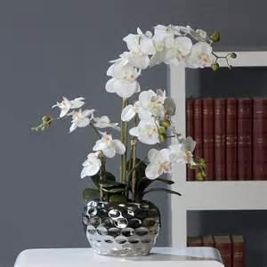 orchid 233 e artificielle 2 hes pot c 233 ramique argent h 54