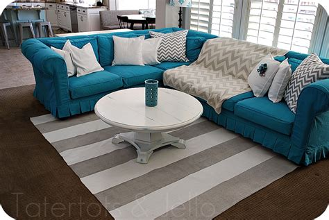 My Slipcovered Sectional And A Giveaway Tatertots And Jello Turquoise Sectional Sofa