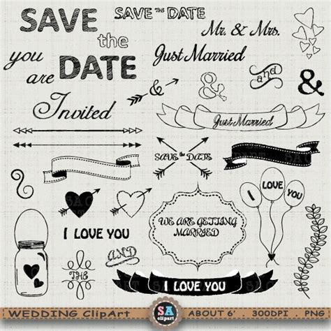 Wedding Clip Font by Wedding Clipart Quot Wedding Element Quot Clip Wedding Font