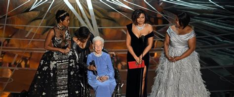 katherine johnson oscars video real life subject of hidden figures receives standing