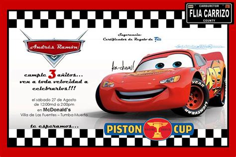 imagenes cumpleaños de cars invitaciones de cumplea 241 os de cars en hd gratis para